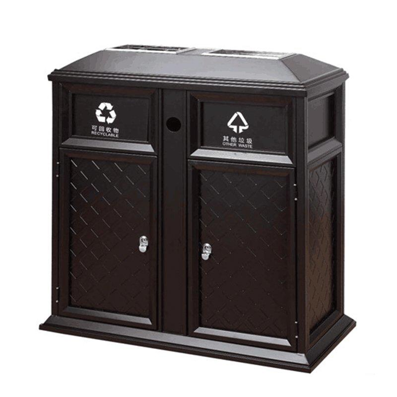 Square shape Retro pattern steel-iron storage villa  church waste bin