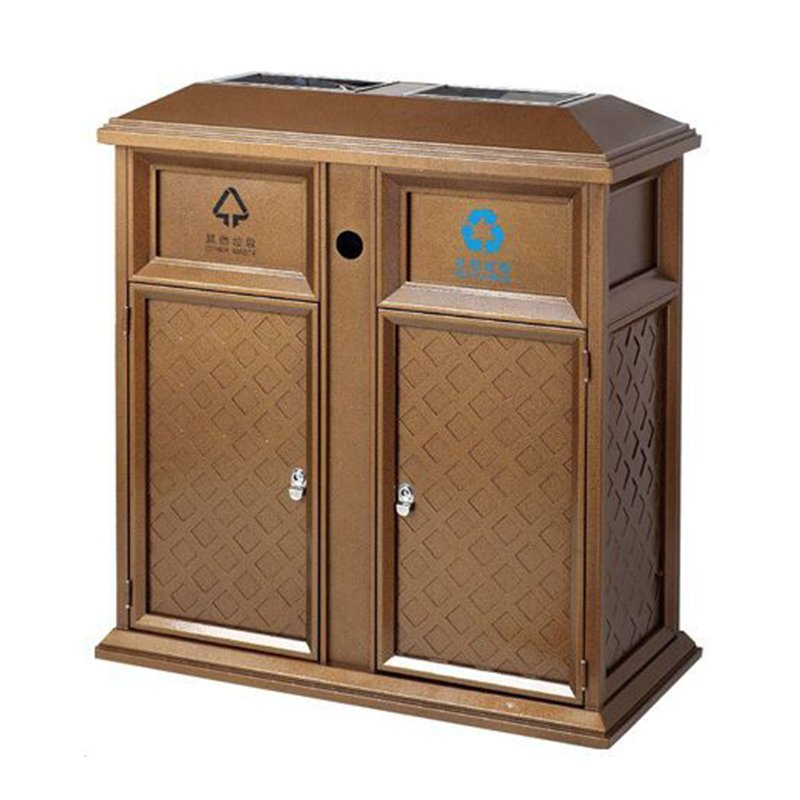 BoXin Square shape Retro pattern steel-iron storage villa church waste bin Outdoor trash cans image9