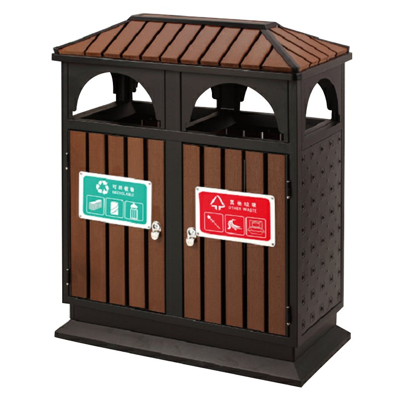 BoXin Chinese supplier outdoor house-shaped steel-wood metal double-class trash can Outdoor trash cans image8