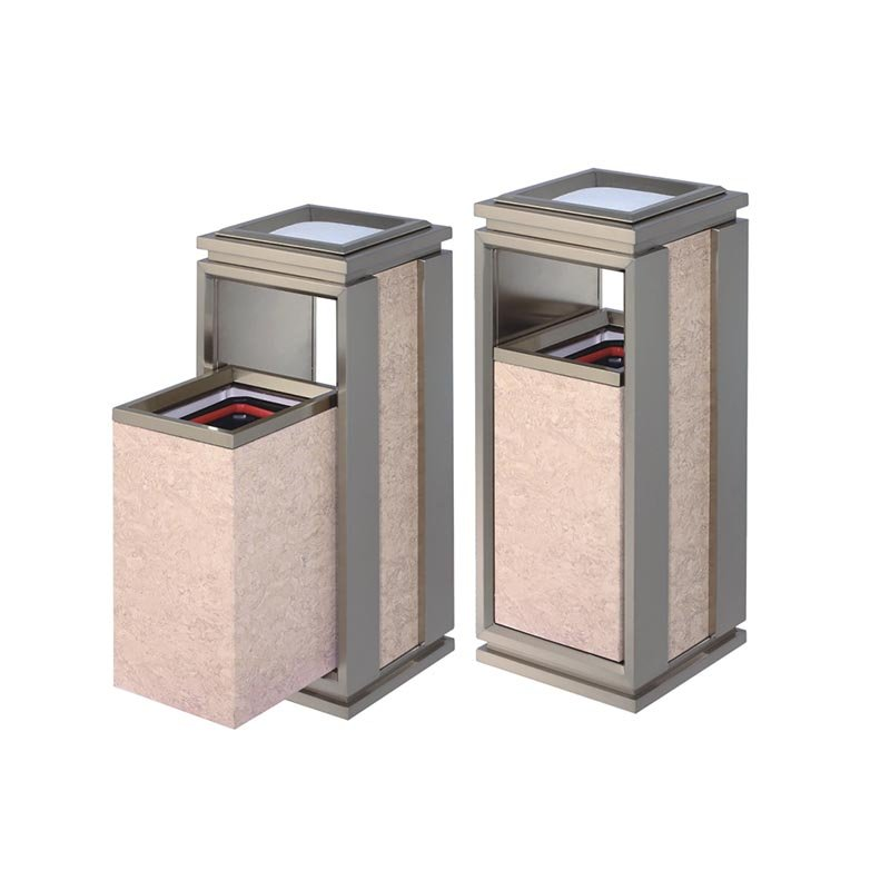 BoXin Indoor square single top open top stainless steel plating champagne gold mobile trash can Hotel trash can image17