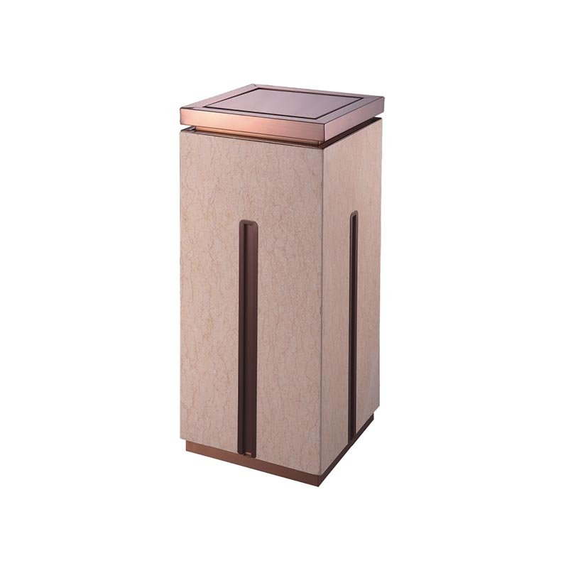 BoXin High-grade indoor square single open top stainless steel gold flower beige marble trash can Hotel trash can image16