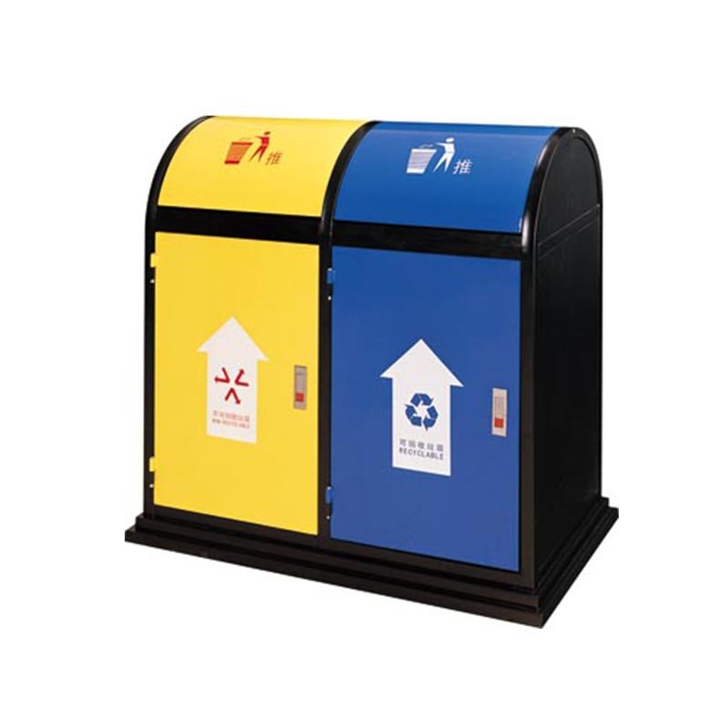 BoXin Metal baking paint two-color classification environmental trash can Outdoor trash cans image3