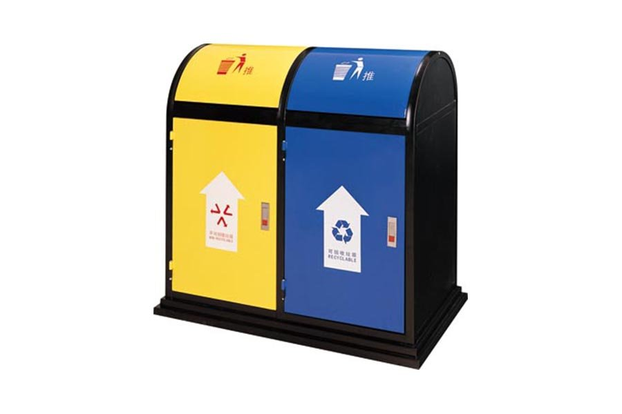 BoXin-Metal Baking Paint Two-color Classification Environmental Trash Can