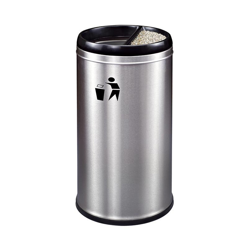 BoXin Customized Wanda Plaza FRP stainless steel trash can with silk screen LOGO Hotel trash can image15