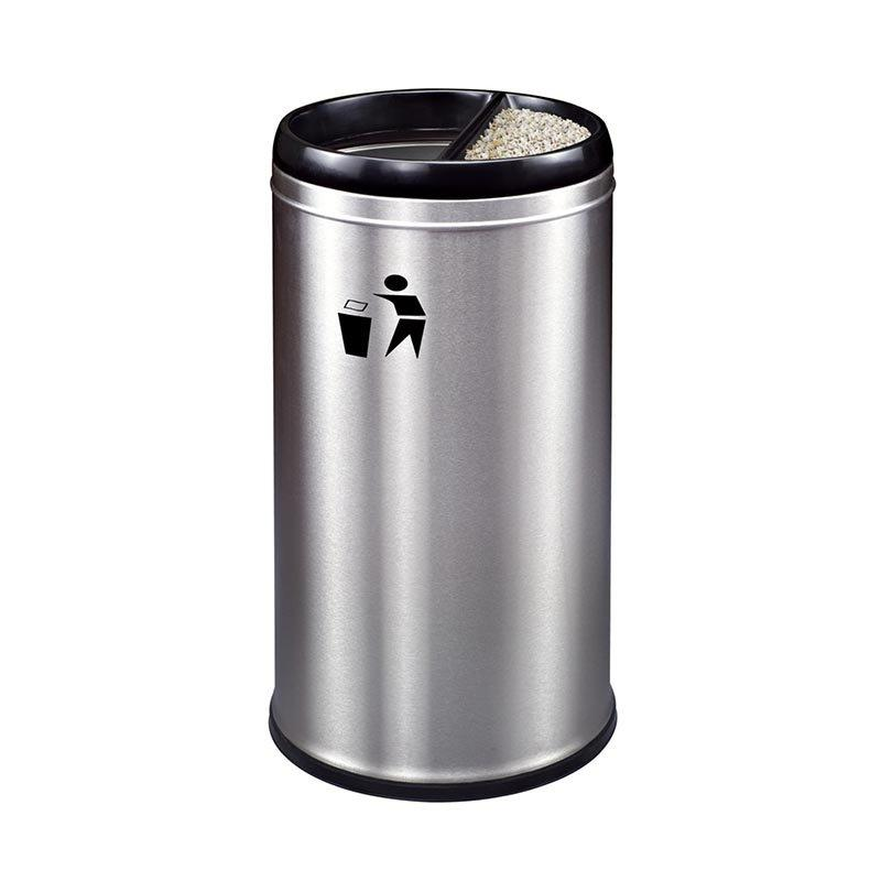 Customized Wanda Plaza FRP stainless steel trash can with silk screen LOGO