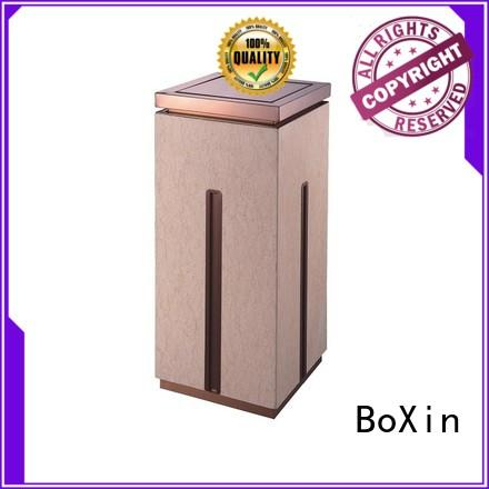 High-grade indoor square single open top stainless steel gold flower beige marble trash can
