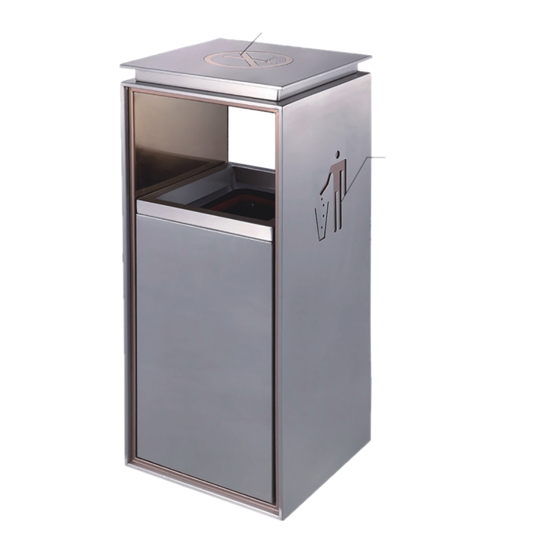 BoXin BOXIN Indoor silk print lobby stainless steel garbage bins/trash bins/rubbish bins for shopping malls Hotel trash can image14