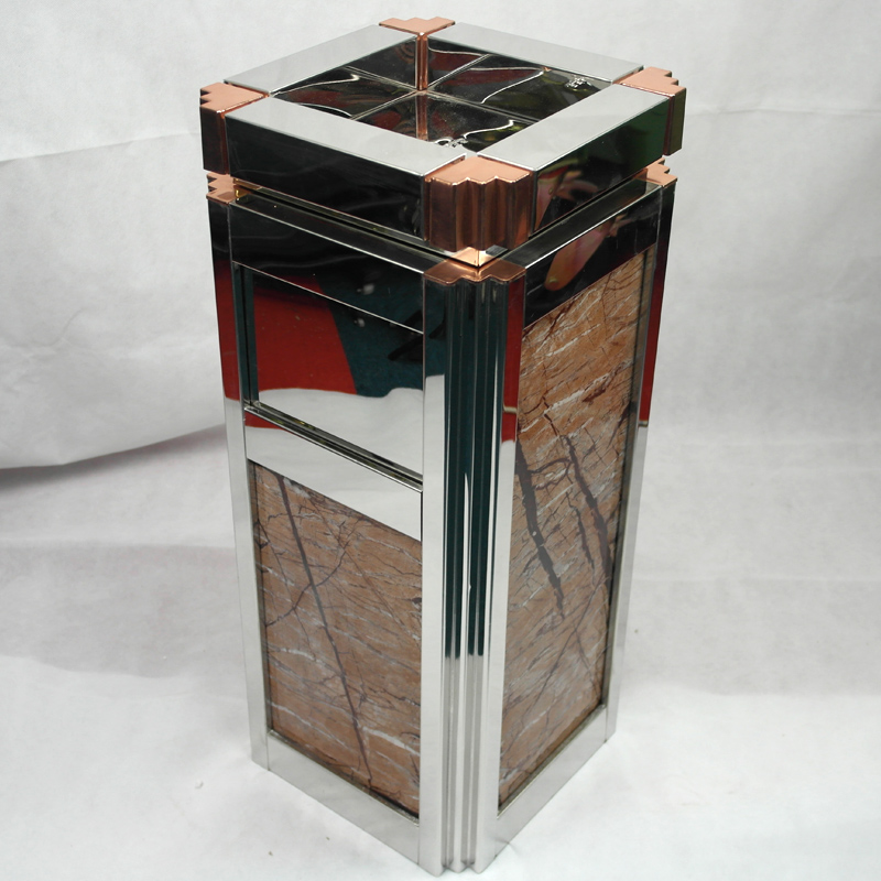 red metal trash can champagne BoXin-4