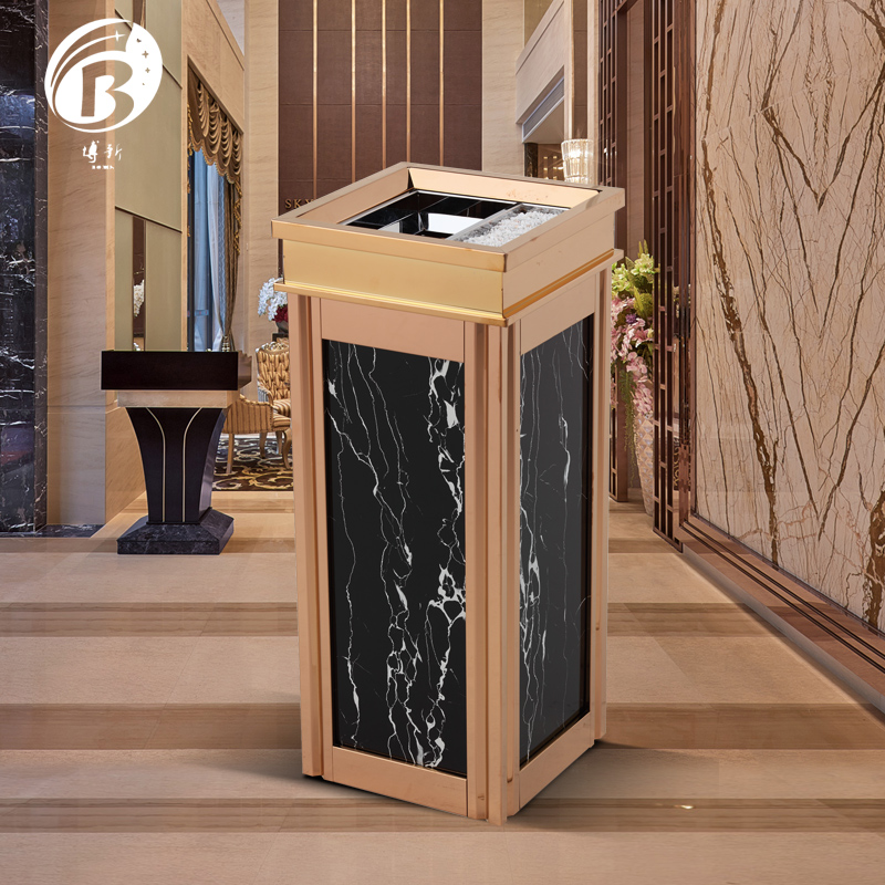 BoXin BX-A18 ground ash barrel stainless steel Exquisite glass Hotel trash can image11