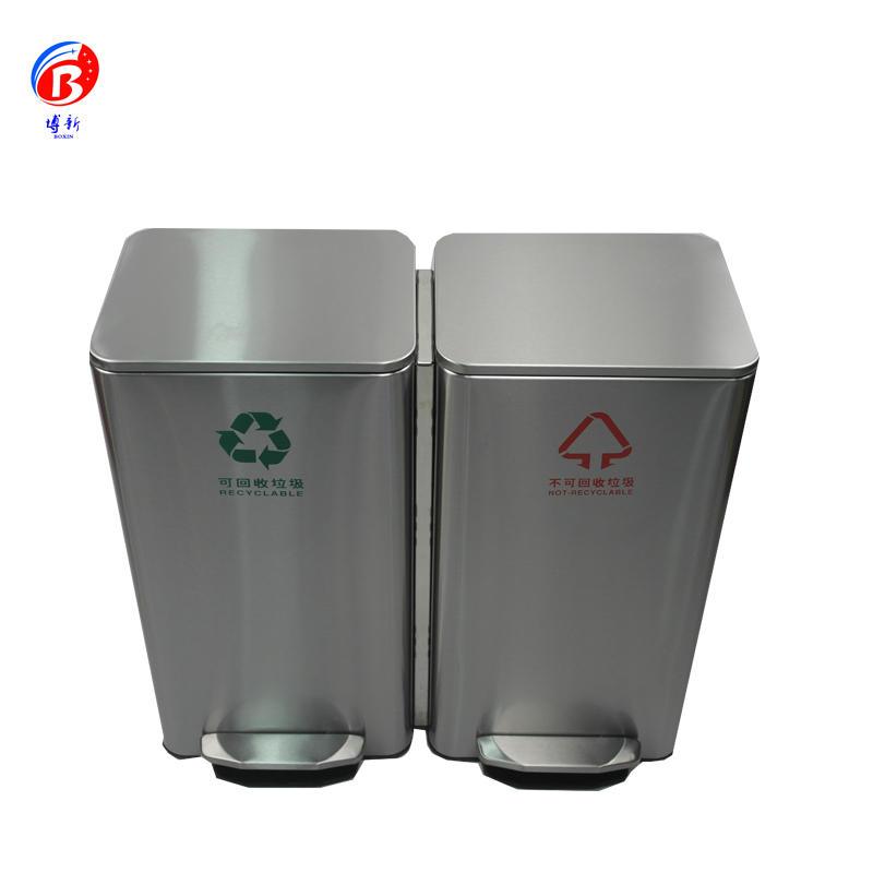 BOXIN 30L/42L/60L  Metal Pedal Stainless Steel Trash Bin, Waste Bin, Garbage Can