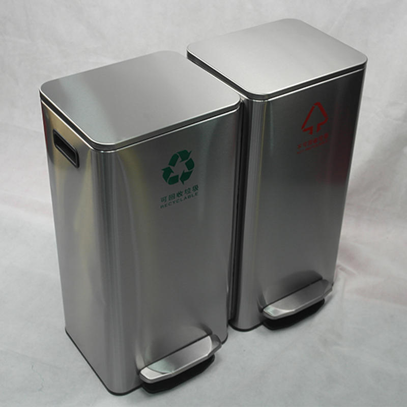 BOXIN 30L/42L/60L  Metal Pedal Stainless Steel Trash Bin, Waste Bin, Garbage Can