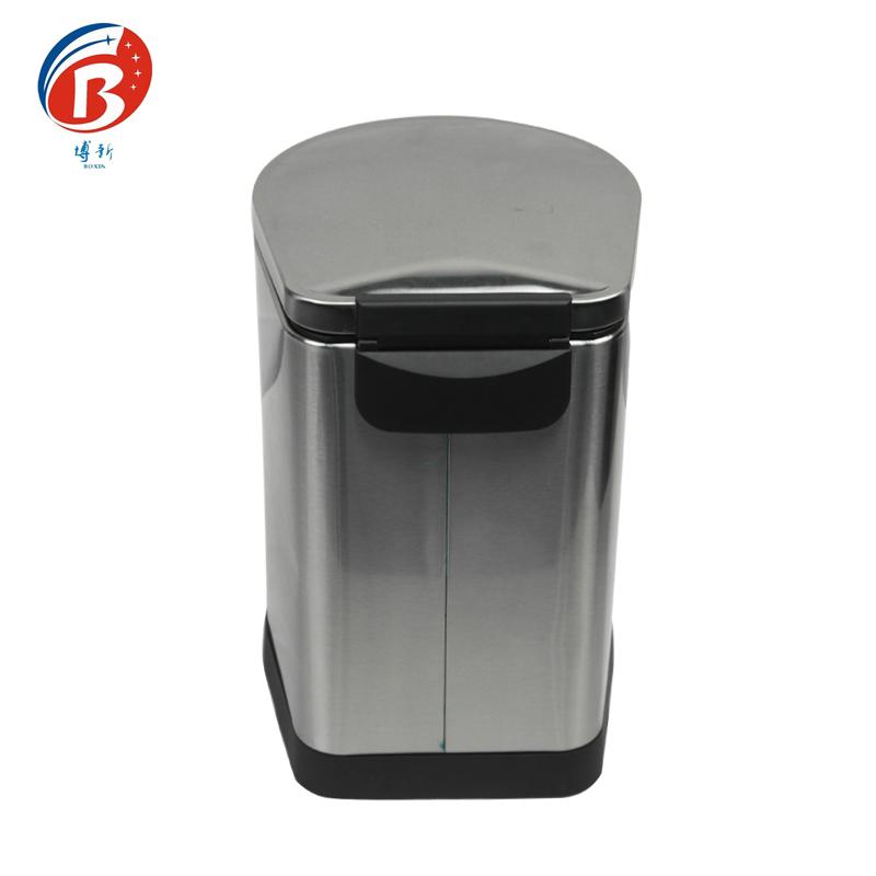 BoXin-Bedroom Garbage Can, Stainless Steel Metal Hotel Room Waste Bin-3