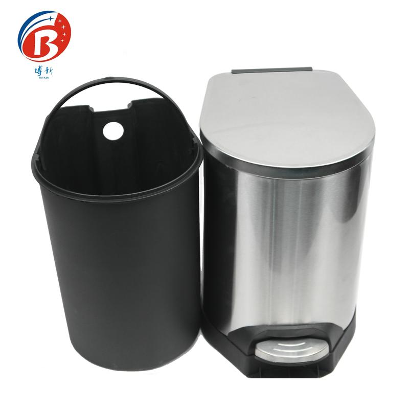 BoXin-Bedroom Garbage Can, Stainless Steel Metal Hotel Room Waste Bin-2