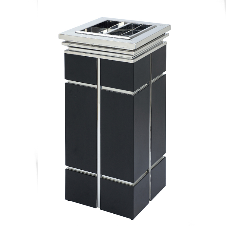 BoXin-High-quality Trash Can Ashtray Combo | Hotel Metal Waste Bin Lobby Trash-1