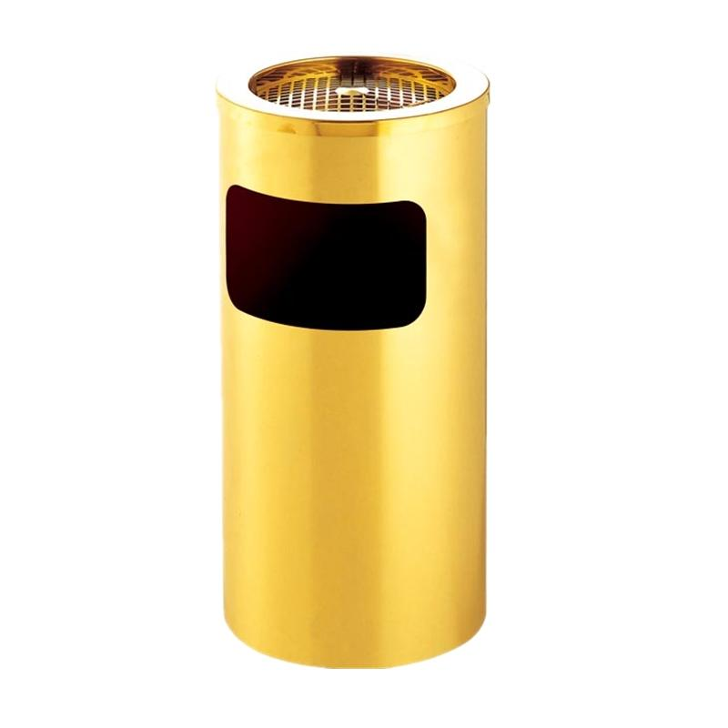 GuangDong Boxin metal round gold waste bin and hotel ss trash bin with ash
