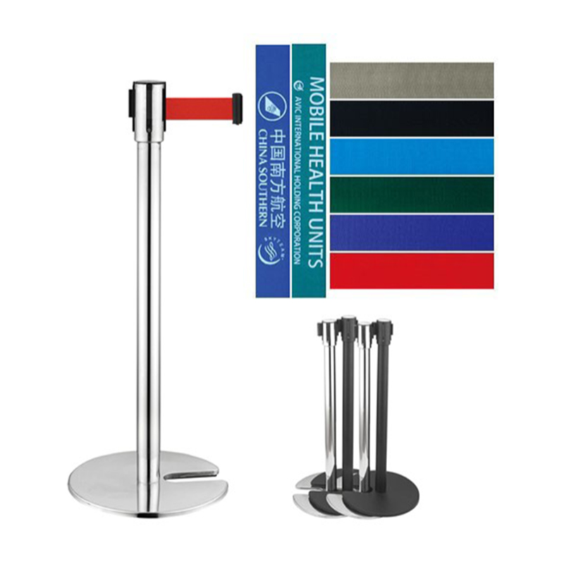 U-shape stainless steel railing stand stackable queue barrier post stanchion base retractable belt stand for movie theater