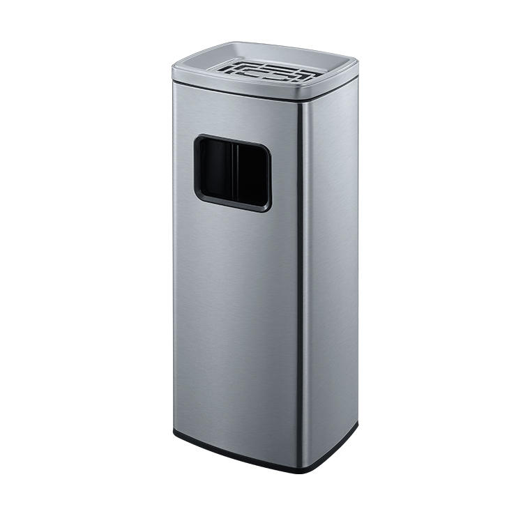Outdoor metal hotel office building garbage trash dusty bin with ashtray