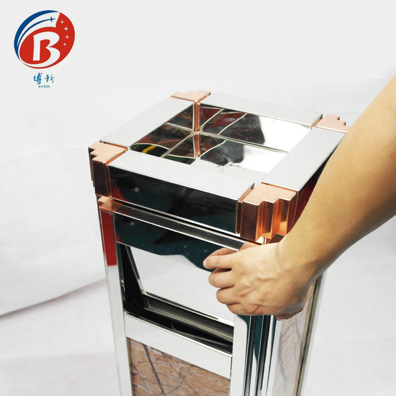 red metal trash can champagne BoXin-3
